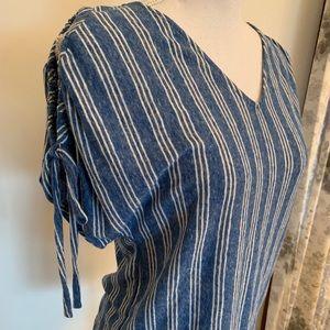 Lucky Brand Blue & White Striped Short Sleeved Top